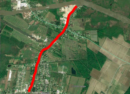 Map of the Company Canal between Bourg and GIW
