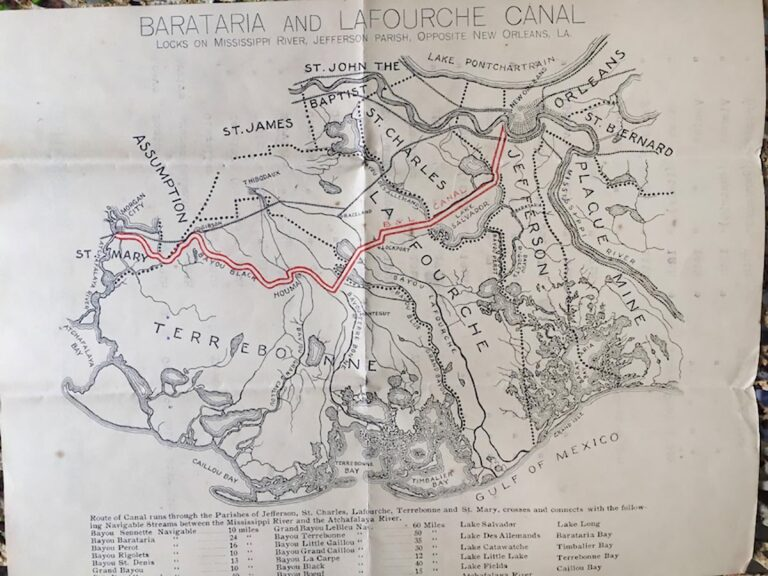 Map of the Barataria Lafourche Canal - From stationery used by R.R. Barrow Jr.