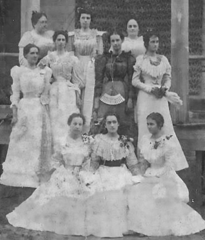 The Cloutier Girls and family friends. On the top row middle is my grandmother Lillian Cloutier