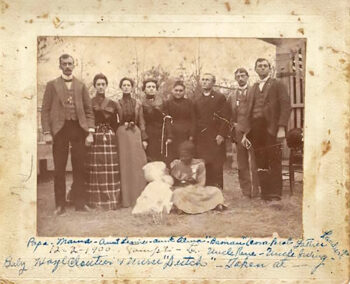 The McKnight and Cloutier families, Dec 2, 1900. First on the left are my grandparents William McKnight and Lillian Cloutier McKnight